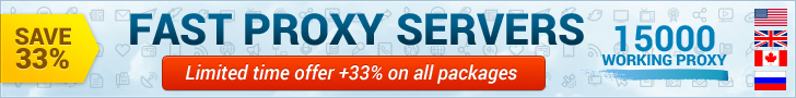 Save 33%! FAST PROXY SERVERS. Limited time offer +33% on all packages. 15000 WORKING PROXY!